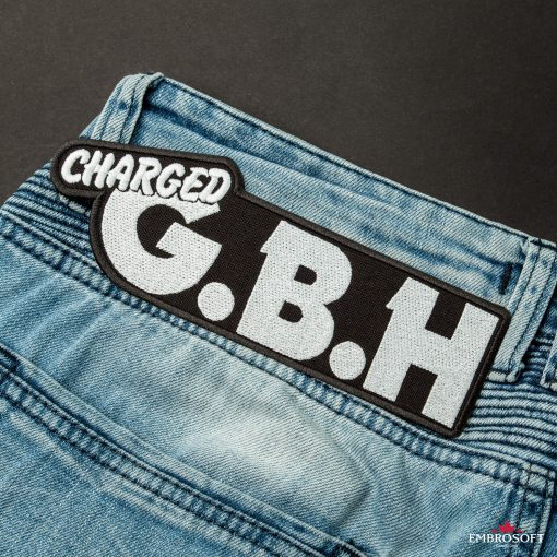 GBH Charged punk rock band Logo patches back jeans