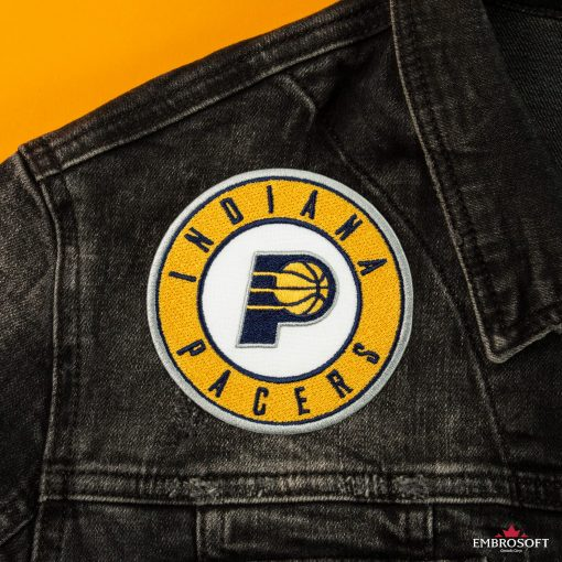 Indiana Pacers NBA Logo embroidered patch front jeans jacket