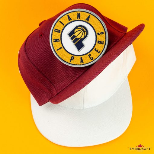Indiana Pacers NBA team Logo patch white and red caps