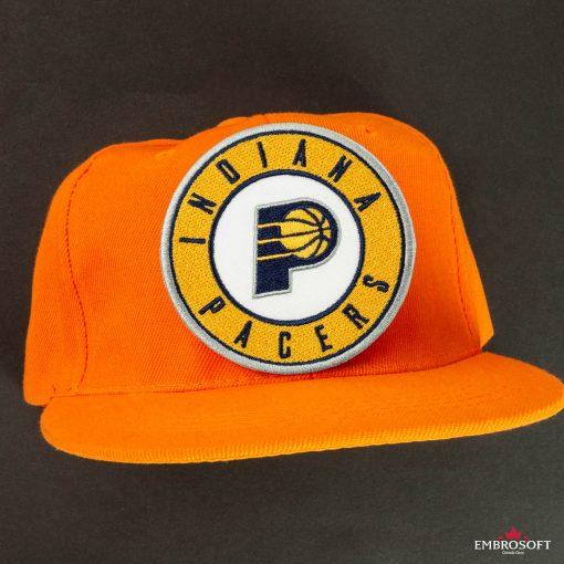 Indiana Pacers NBA team emblem patches orange cap