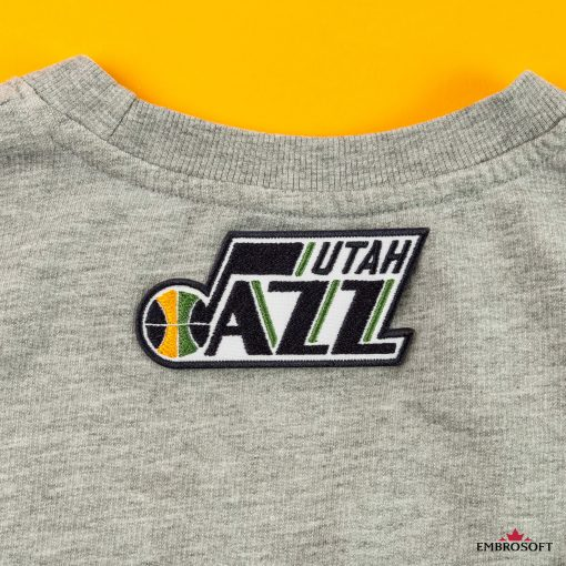 Utah Jazz NBA Emblem patch embroidered patch back gray hoody