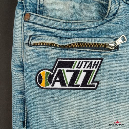 Utah Jazz NBA Logo front jeans embroidery