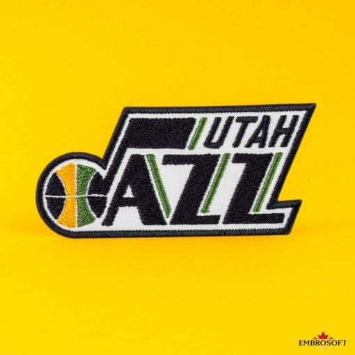 Utah Jazz NBA Logo rock patch yellow background