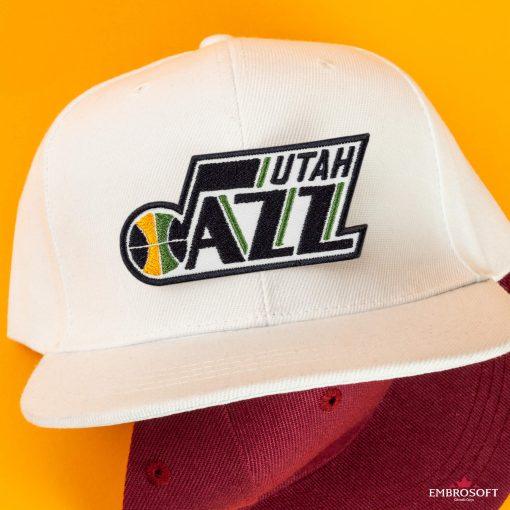 Utah Jazz NBA Logo white and red caps team patch