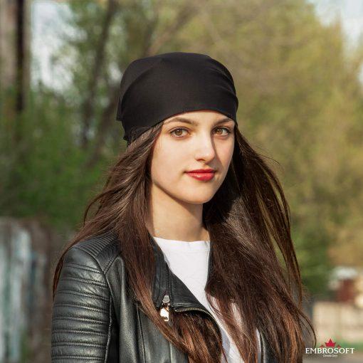 bandana black on the head
