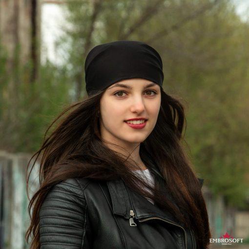bandana black on the head smile