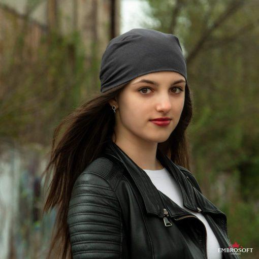 bandana gray on the head
