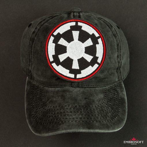star Wars Galactic Empire Logo black background and black cap