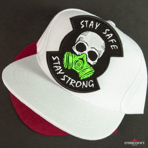 stay safe stay strong white cap