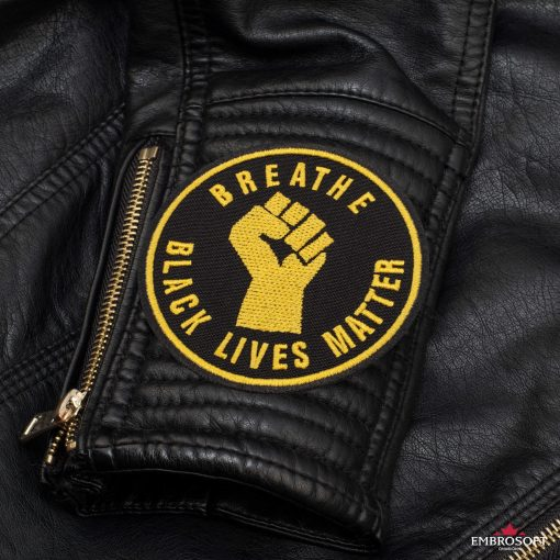 Breathe Black Lives Matter Leather Jacket sleeve