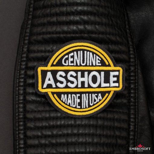 Genuine Asshole Made in USA Leather Jacket sleeve
