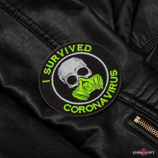 I survived coronavirus sleeve Leather Jacket
