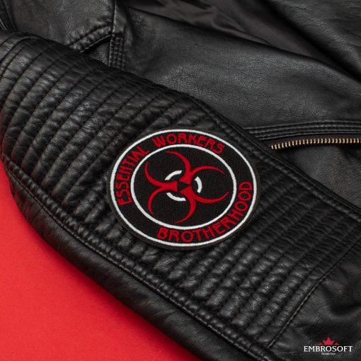 Essential workers brotherhood back sleeve Leather Jacket