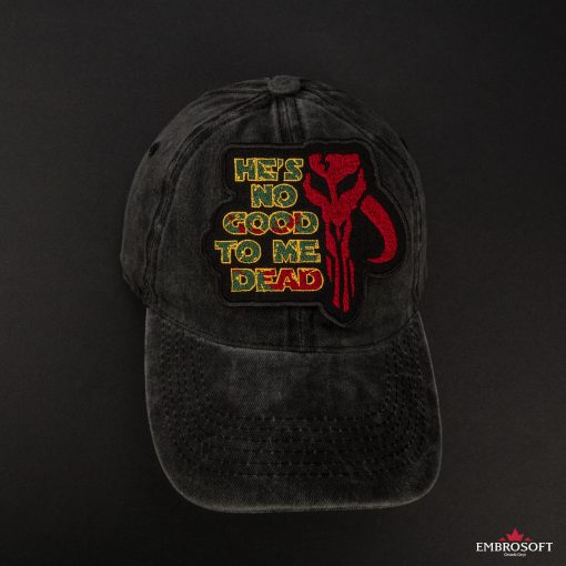 Star Wars The Mandalorian with text black cap