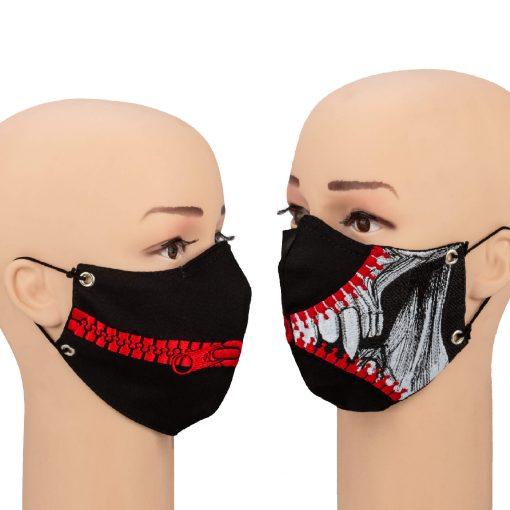 mask zipper on a mannequin full face